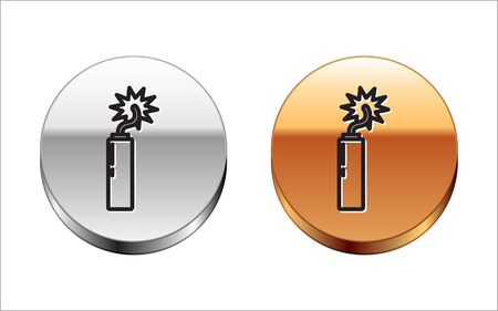 Black line Detonate dynamite bomb stick clock icon isolated on white background. Time bomb - explosion danger concept. Silver-gold circle button. Vector Illustration