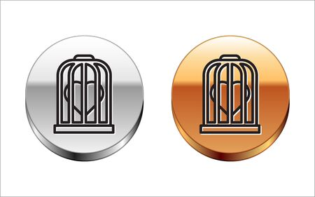 Black line Heart in the bird cage icon isolated on white background. Love sign. Valentines symbol. Silver-gold circle button. Vector Illustration