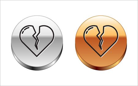 Black line Broken heart or divorce icon isolated on white background. Love symbol. Valentines day. Silver-gold circle button. Vector Illustration