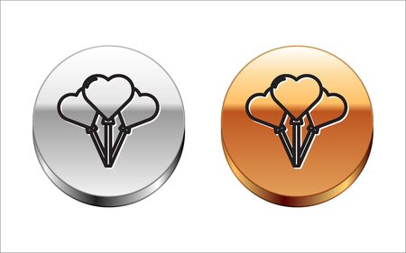 Black line Balloons in form of heart with ribbon icon isolated on white background. Silver-gold circle button. Vector Illustration Illusztráció