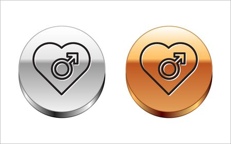 Black line Heart with male gender symbol icon isolated on white background. Silver-gold circle button. Vector Illustration