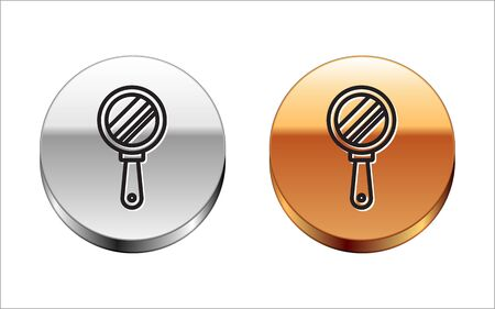 Black line Hand mirror icon isolated on white background. Silver-gold circle button. Vector Illustration Ilustrace
