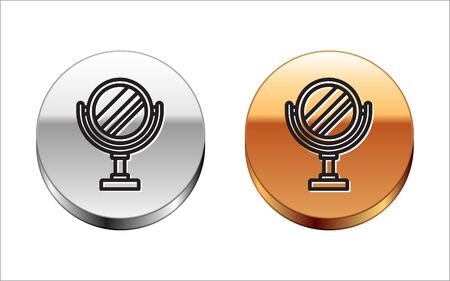 Black line Round makeup mirror icon isolated on white background. Silver-gold circle button. Vector Illustration