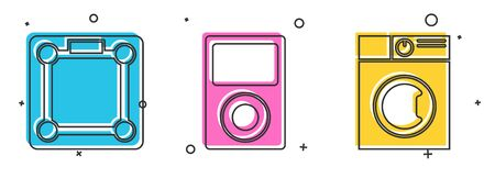 Set Bathroom scales , Music player  and Washer  icon. Vector