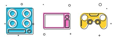 Set Gas stove , Microwave oven  and Gamepad  icon. Vector
