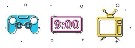 Set Gamepad , Digital alarm clock  and Television icon. Vector