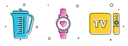 Set Measuring cup, Smart watch showing heart beat rate  and TV box receiver and player with remote controller  icon. Vector