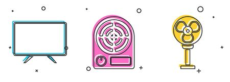 Set Smart Tv , Electric heater  and Electric fan  icon. Vector Illustration