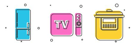 Set Refrigerator , TV box receiver and player with remote controller and Slow cooker icon. Vector