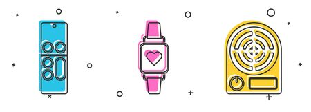 Set Remote control , Smart watch showing heart beat rate and Electric heater icon. Vector Ilustração