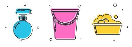 Set Cleaning spray bottle with detergent liquid , Bucket and Plastic basin with soap suds icon. Vector