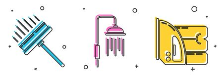 Set Squeegee, scraper, wiper, Shower head with water drops flowing and Electric iron and towel icon. Vector