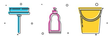 Set Squeegee, scraper, wiper, Plastic bottles for liquid dishwashing liquid and Bucket icon. Vector