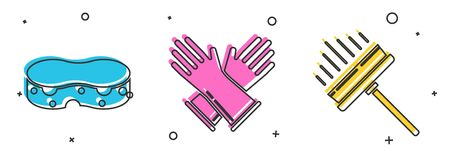 Set Sponge , Rubber gloves and Squeegee, scraper, wiper icon. Vector Vectores
