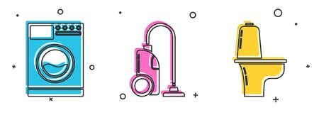 Set Washer , Vacuum cleaner  and Toilet bowl  icon. Vector