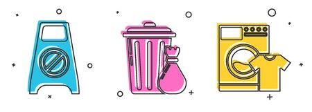 Set Wet floor and cleaning in progress , Trash can and garbage bag  and Washer and t-shirt  icon. Vector Ilustração