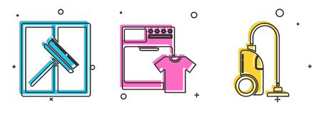 Set Squeegee, scraper, wiper, Washer and t-shirt  and Vacuum cleaner  icon. Vector