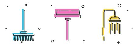 Set Mop , Squeegee, scraper, wiper and Shower head with water drops flowing  icon. Vector 일러스트