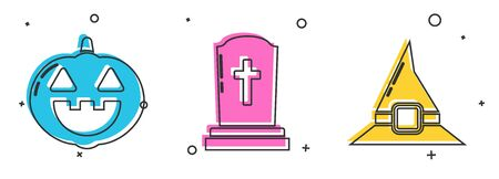 Set Pumpkin , Tombstone with cross  and Witch hat  icon. Vector