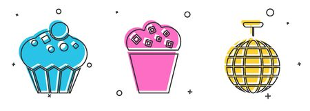 Set Muffin , Popcorn in cardboard box  and Disco ball  icon. Vector Stock Illustratie
