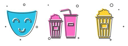 Set Comedy theatrical mask , Popcorn and soda drink glass and Popcorn in cardboard box icon. Vector