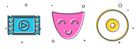 Set Play Video , Comedy theatrical mask  and CD or DVD disk  icon. Vector