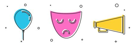 Set Balloon with ribbon , Drama theatrical mask  and Megaphone  icon. Vector
