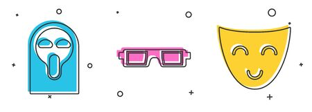 Set Funny and scary ghost mask, 3D cinema glasses  and Comedy theatrical mask  icon. Vector Ilustração