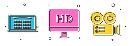 Set Buy cinema ticket online , Computer PC monitor with HD video technology and Cinema camera icon. Vector Zdjęcie Seryjne - 140595591