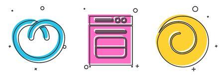 Set Pretzel , Oven and Roll bun with cinnamon icon. Vector
