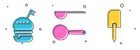 Set Burger , Measuring spoon and Spatula icon. Vector