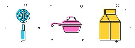 Set Spatula , Frying pan and Paper package for milk icon. Vector 일러스트