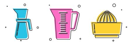 Set Measuring cup, Measuring cup and Citrus fruit juicer icon. Vector