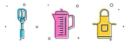 Set Spatula , Teapot and Kitchen apron icon. Vector