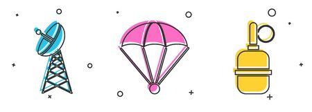 Set Radar , Parachute and Hand grenade icon. Vector Illusztráció