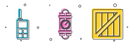 Set Walkie talkie , Detonate dynamite bomb stick and timer clock and Military ammunition box icon. Vector Vettoriali