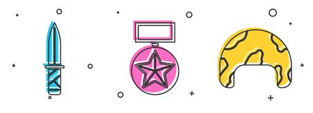 Set Military knife , Military reward medal and Military helmet icon. Vector
