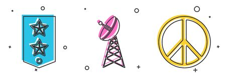 Set Chevron , Radar and Peace icon. Vector