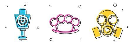 Set Human target sport for shooting , Brass knuckles and Gas mask icon. Vector