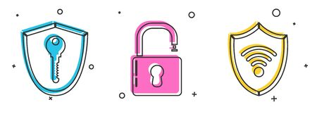 Set Shield with key , Open padlock and Shield with WiFi wireless internet network icon. Vector Ilustrace