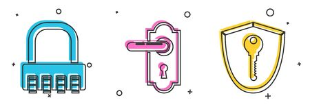 Set Safe combination lock , Door handle and Shield with key icon. Vector Ilustrace