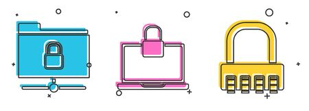 Set FTP folder and lock , Laptop and lock and Safe combination lock icon. Vector