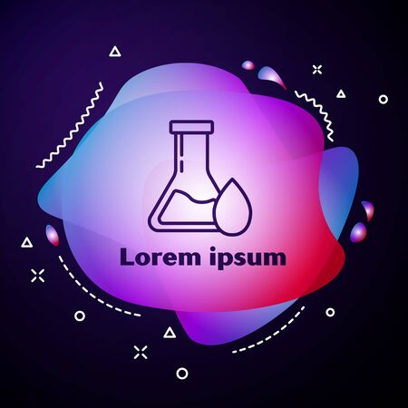 Purple line Oil petrol test tube icon isolated on blue background. Abstract banner with liquid shapes. Vector Illustration