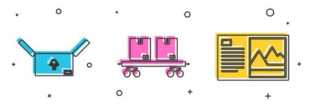 Set Cardboard box with traffic symbol , Railway carriage  and Postcard  icon. Vector