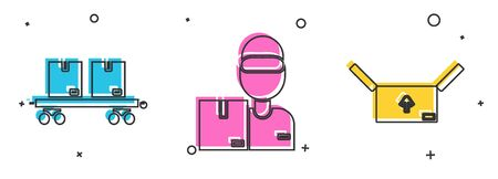 Set Railway carriage , Delivery man with cardboard boxes  and Cardboard box with traffic symbol  icon. Vector Ilustração