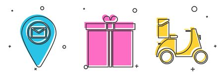 Set Placeholder on map paper, Gift box  and Scooter delivery  icon. Vector