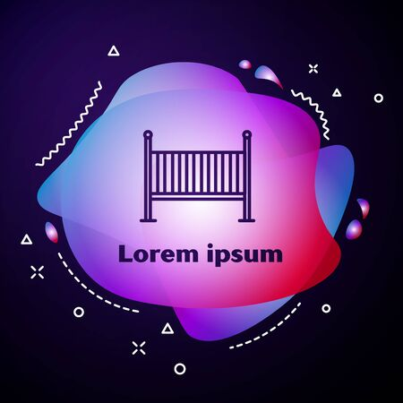 Purple line Baby crib cradle bed icon isolated on blue background. Abstract banner with liquid shapes. Vector Illustration