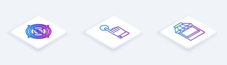 Set Isometric line Target with dollar, Hand touch and tap gesture and Shopping building or market store. White square button. Vector