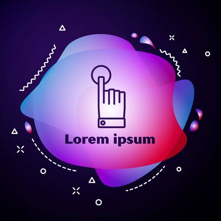 Purple line Hand touch and tap gesture icon isolated on blue background. Click here, finger, touch, pointer, cursor, mouse symbol. Abstract banner with liquid shapes. Vector Illustration