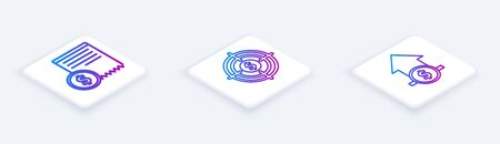 Set Isometric line Paper check and financial check, Target with dollar and Financial growth and coin. White square button. Vector